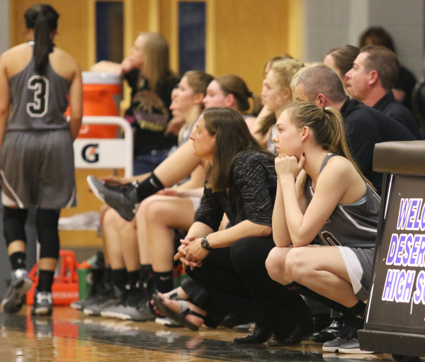 Faith Lutheran´s Isabel Thornton, right, waits to rotate in during a NIAA Division 1-A Southern Region girls championship basketball game against Spring Valley at Desert Pines High School Satur ...