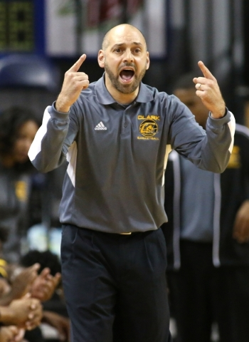 Clark Head Coach Chad Beeten works the sidelines of the NIAA Division I-A state basketball championship game against Clark in Reno, Nev. on Saturday, Feb. 27, 2016. Clark won 43-39. Cathleen Allis ...