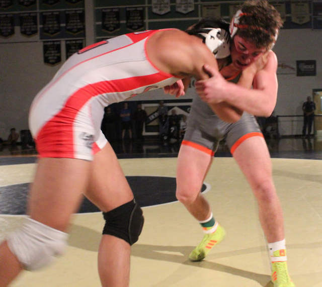 Bishop Gorman's Joey Mazzara ties up Arbor View's Destry Talledo during their 170-pound championship match of the Division I Sunset Region Tournament at Shadow Ridge on Saturday.  W.G. ...