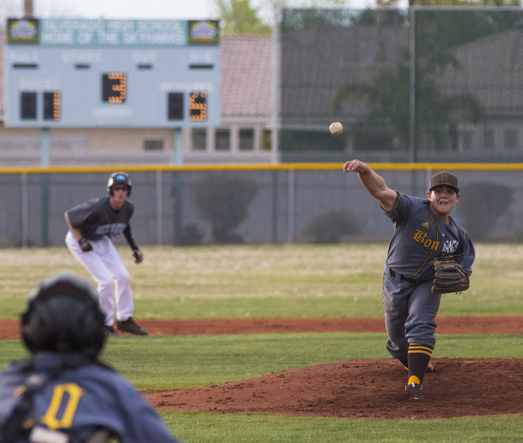 Bonanza pitcher Jay DeSoto (12) throws the ball during a baseball game against Silverado High School at Silverado High School in Henderson on Friday, March 10, 2017. Silverado beat Bonanza 8-2. Mi ...