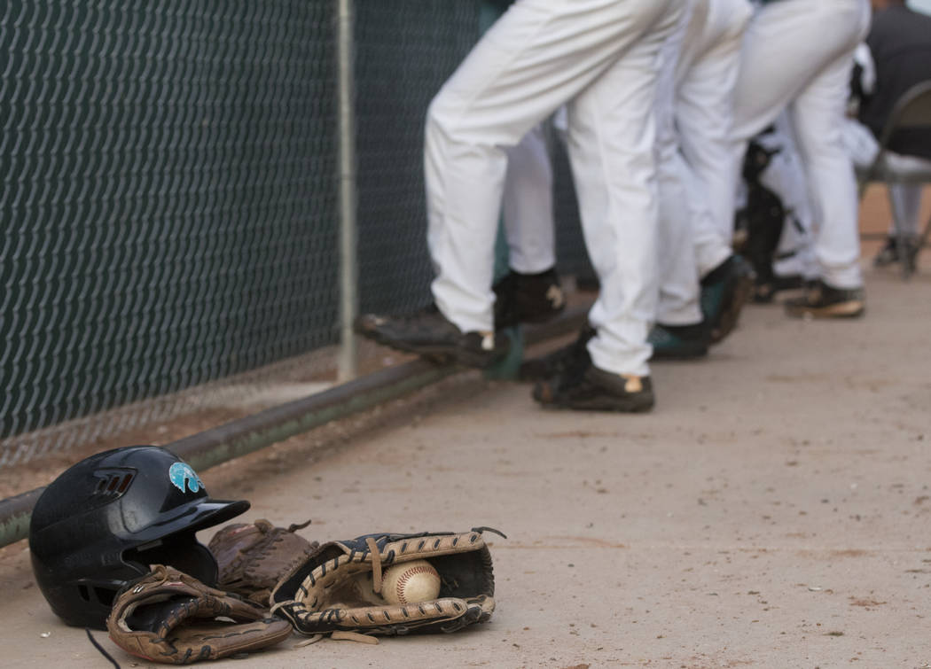 The Silverado High School baseball team waits in the dugout during a baseball game against Bonanza High School at Silverado High School in Henderson on Friday, March 10, 2017. Silverado beat Bonan ...