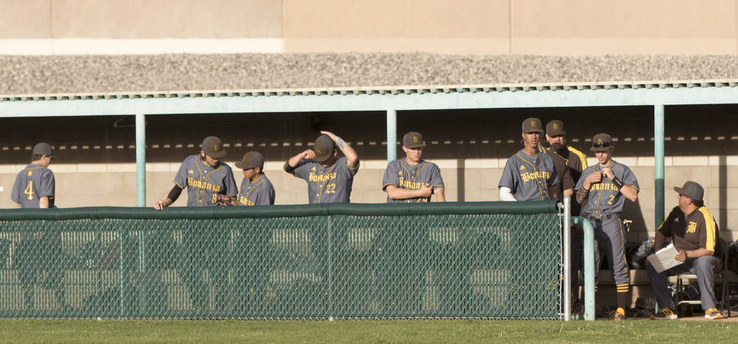 The Bonanza High School baseball team waits in the dugout during a baseball game against Silverado High School at Silverado High School in Henderson on Friday, March 10, 2017. Silverado beat Bonan ...