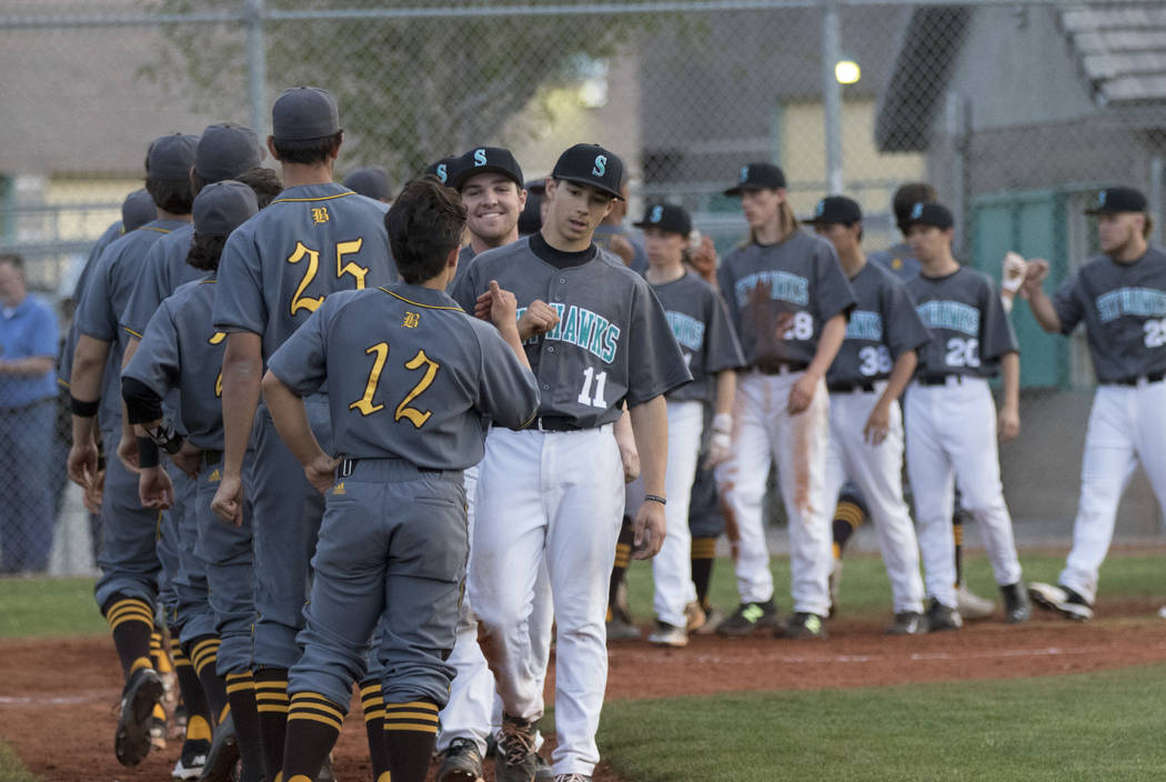 Bonanza players congratulate Silverado players after a baseball game at Silverado High School in Henderson on Friday, March 10, 2017. Silverado beat Bonanza 8-2. Miranda Alam/Las Vegas Review-Jour ...