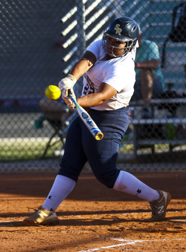 Shadow Ridge first baseman Alyssa Stanley (22) hits a double in the sixth inning during a softball game against Palo Verde High School at Shadow Ridge High School in North Las Vegas on Monday, Mar ...