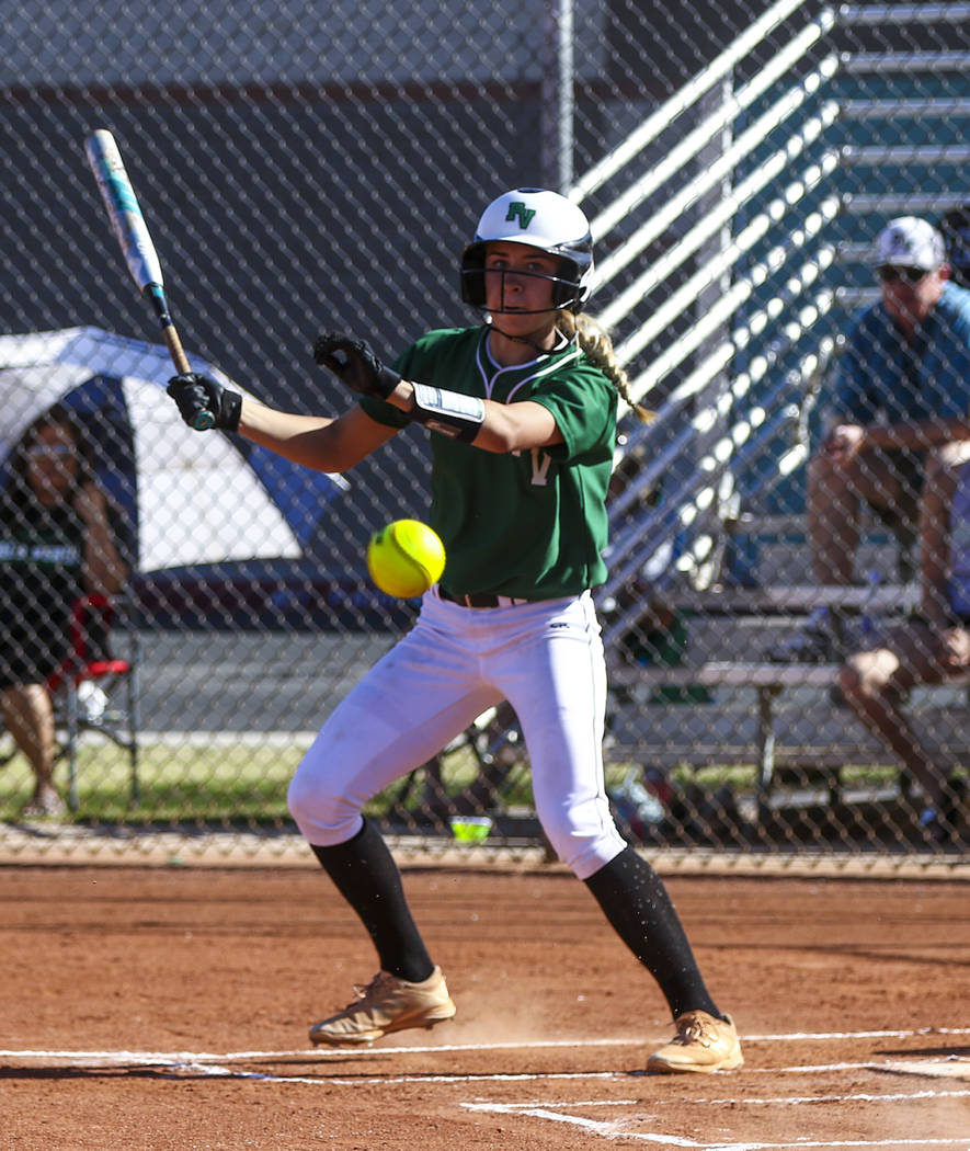 Palo Verde outfielder Camden Zahn (27) hits a foul ball in the first inning during a softball game against Shadow Ridge High School at Shadow Ridge High School in North Las Vegas on Monday, March  ...
