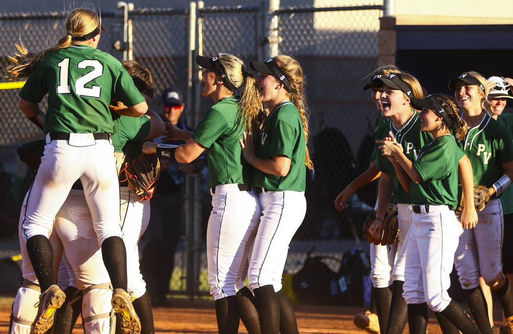 The Palo Verde softball team celebrates their win after a game against Shadow Ridge High School at Shadow Ridge High School in North Las Vegas on Monday, March 13, 2017. (Miranda Alam/Las Vegas Re ...