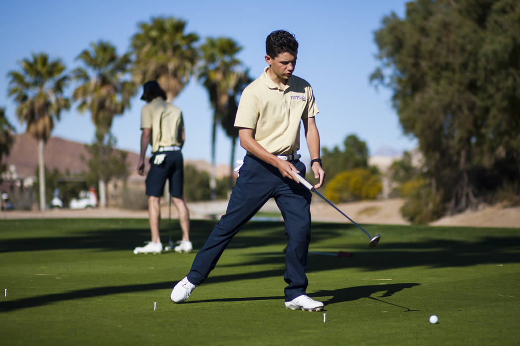 Foothill sophomore Noah MacFawn follows the ball while going through drills during practice at Chimera Golf Club in Henderson on Monday, March 6, 2017. (Chase Stevens/Las Vegas Review-Journal) @cs ...