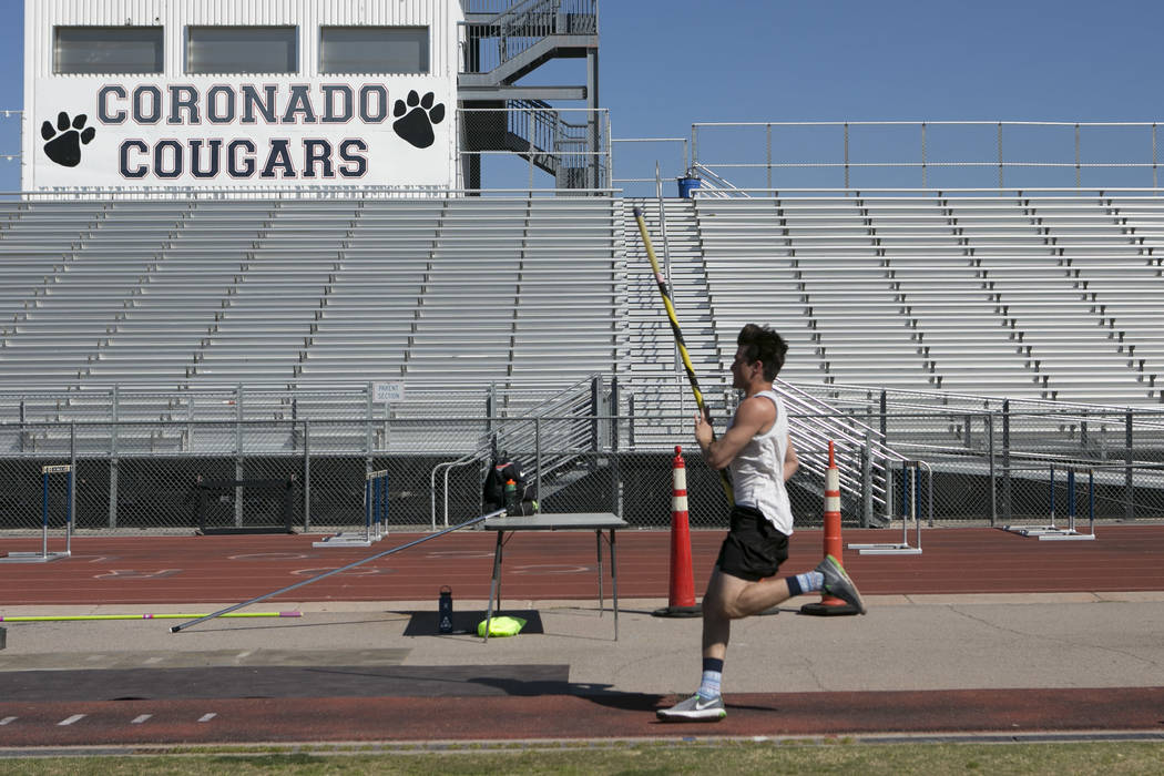 "Edward ""Teddy"" Andrews does warmup runs prior to pole vaulting during a track and field practice at Coronado High School on Tuesday, March 14, 2017, in Las Vegas. (Bridget Bennet ..."