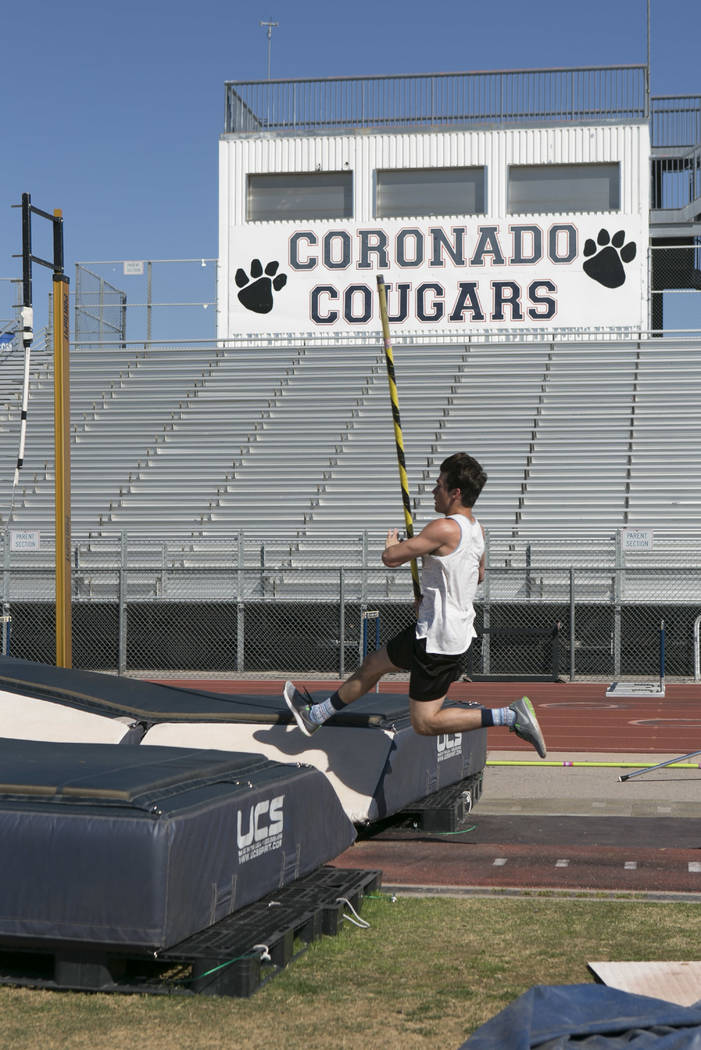 "Edward ""Teddy"" Andrews practices pole vaulting during a track and field practice at Coronado High School on Tuesday, March 14, 2017, in Las Vegas. (Bridget Bennett/Las Vegas Revi ..."