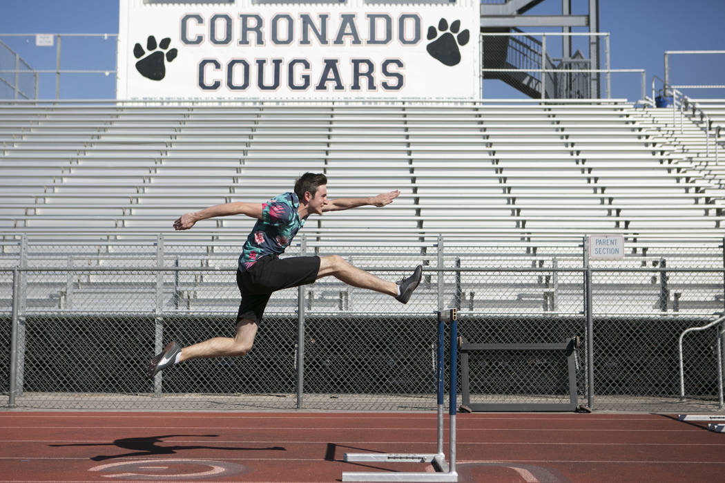 Braeden Traficanti practices hurdles during a track and field practice at Coronado High School on Tuesday, March 14, 2017, in Las Vegas. (Bridget Bennett/Las Vegas Review-Journal) @bridgetkb
