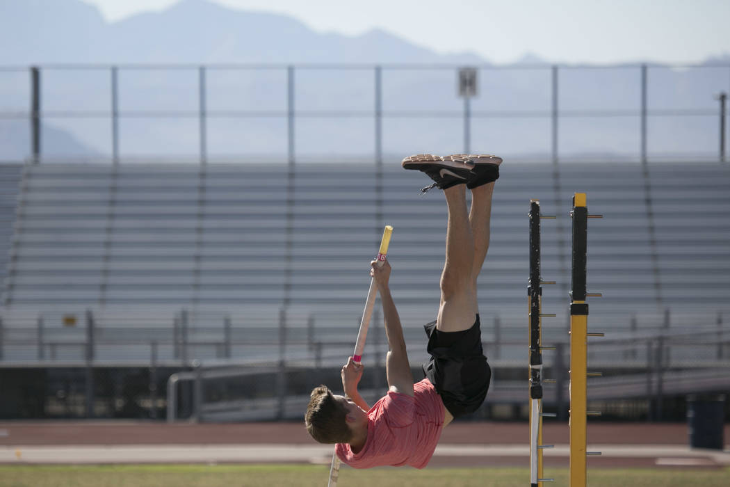 Garett Furlong practices pole vaulting during a track and field practice at Coronado High School on Tuesday, March 14, 2017, in Las Vegas. (Bridget Bennett/Las Vegas Review-Journal) @bridgetkb