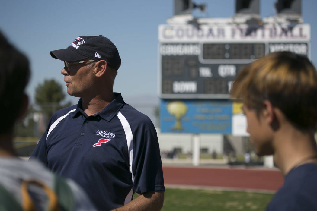 Head coach Rick Teller talks to the team during a track and field practice at Coronado High School on Tuesday, March 14, 2017, in Las Vegas. (Bridget Bennett/Las Vegas Review-Journal) @bridgetkb