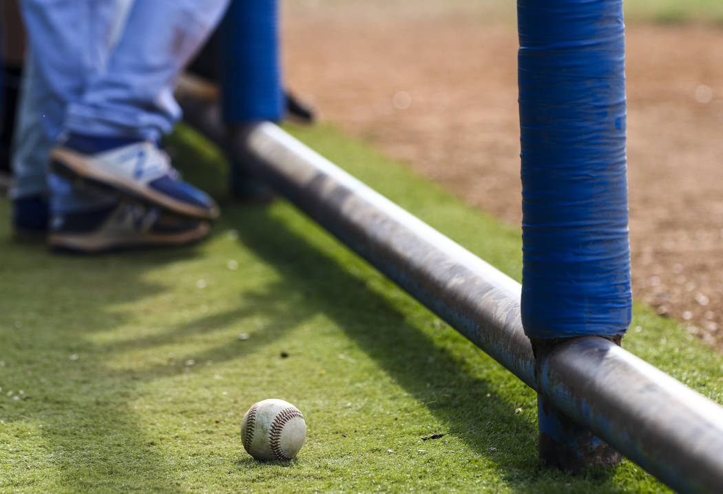A baseball sits in the Basic High School dugout during a baseball game against Green Valley High School at Green Valley High School in Henderson on Wednesday, March 15, 2017. Green Valley beat Bas ...