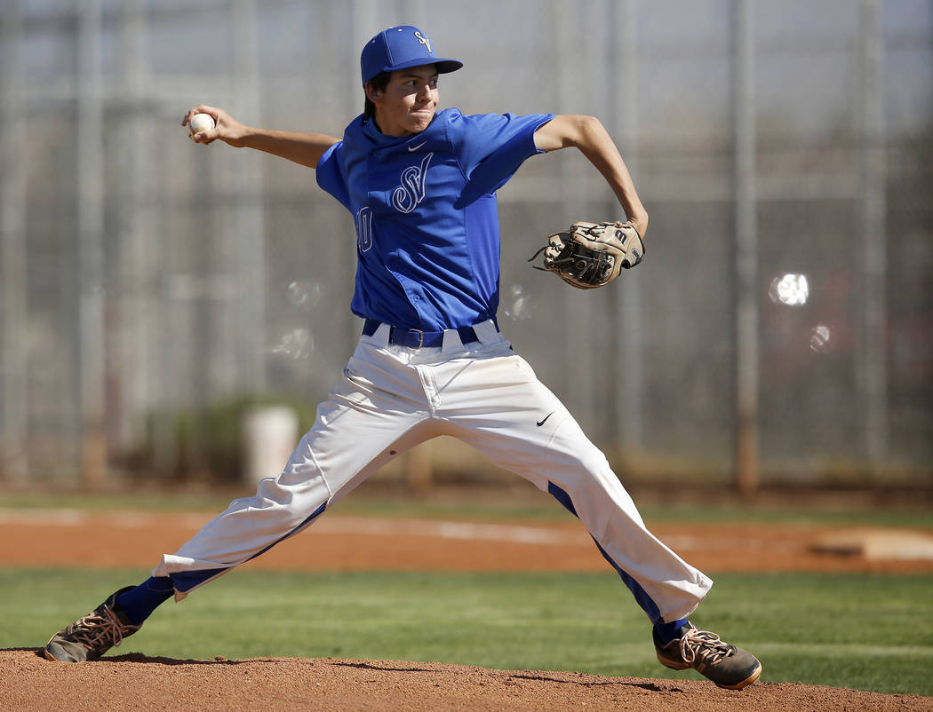 Sierra Vista's Alex Chavira (10) pitches during the first inning of a high school baseball game against Desert Oasis at Sierra Vista High School on Thursday, March 16, 2017, in Las Vegas. Desert O ...