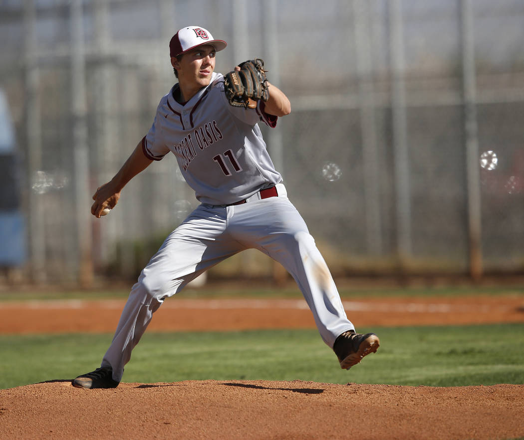 Desert Oasis's Brett Brocoff (11) pitches during the first inning of a high school baseball game against Sierra Vista at Sierra Vista High School on Thursday, March 16, 2017, in Las Vegas. Desert  ...