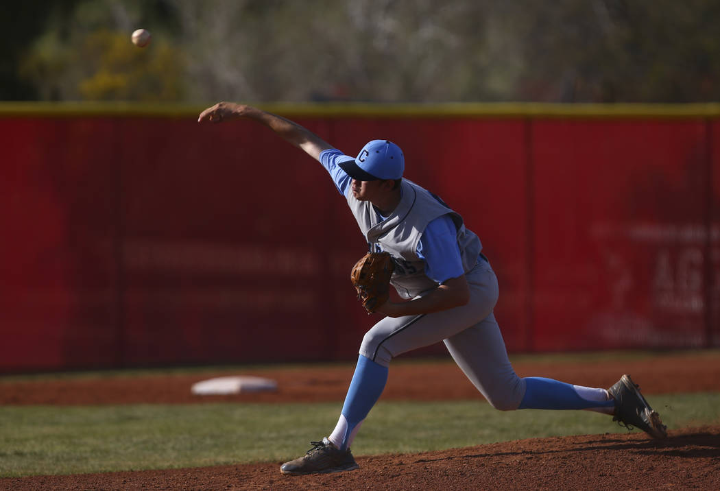 Centennial's Kyle Horton (34) pitches to Arbor View during a baseball game at Arbor View High School in Las Vegas on Friday, March 17, 2017. Centennial won 5-2. (Chase Stevens/Las Vegas Review-Jou ...