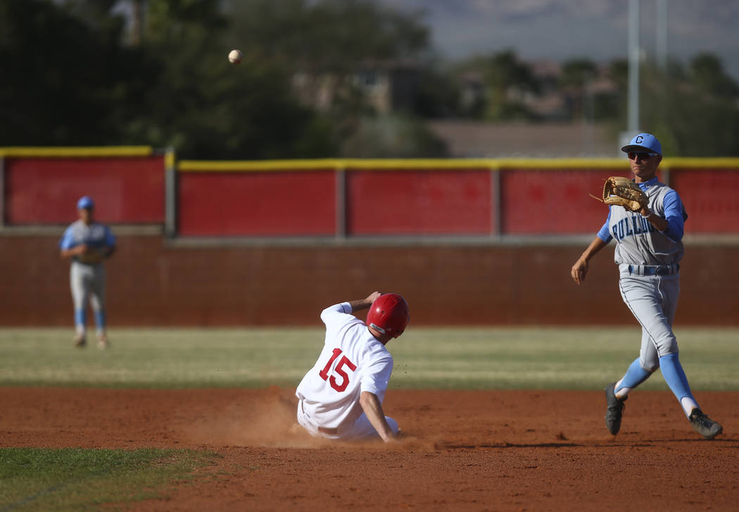 Arbor View's Jacob Hamilton (15) slides into second base against Centennial's Brett Berger (20) during a baseball game at Arbor View High School in Las Vegas on Friday, March 17, 2017. Centennial  ...