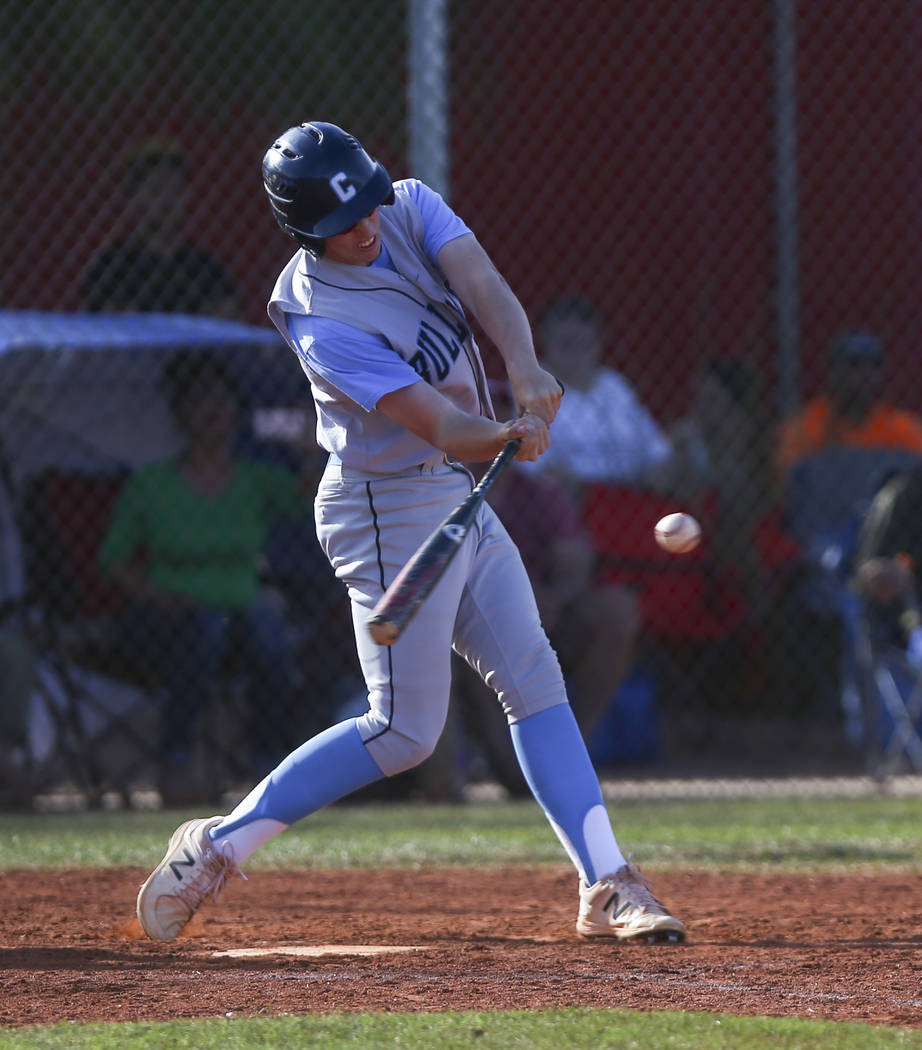 Centennial's Jake Rogers (42) hits the ball allowing two runs during a baseball game against Arbor View High School in Las Vegas on Friday, March 17, 2017. Centennial won 5-2. (Chase Stevens/Las V ...