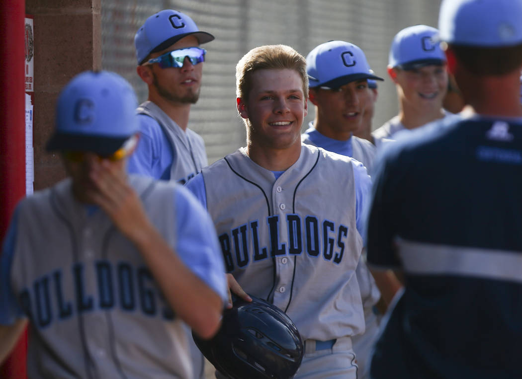 Centennial's Austin Kryszczuk (17) in the dugout after his home run hit during a baseball game at Arbor View High School in Las Vegas on Friday, March 17, 2017. Centennial won 5-2. (Chase Stevens/ ...