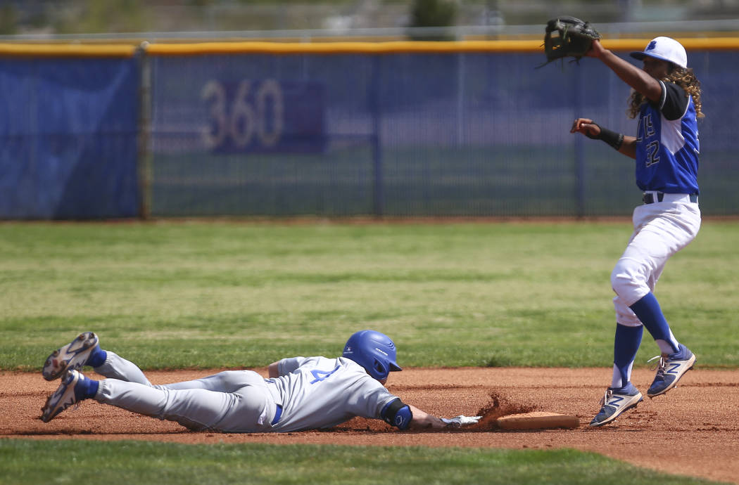 Santa Margarita's Conner Longrie (4) slides safely back to second base against Basic's Christian Rivero (32) during a baseball game at Basic High School in Henderson on Saturday, March 18, 2017. B ...