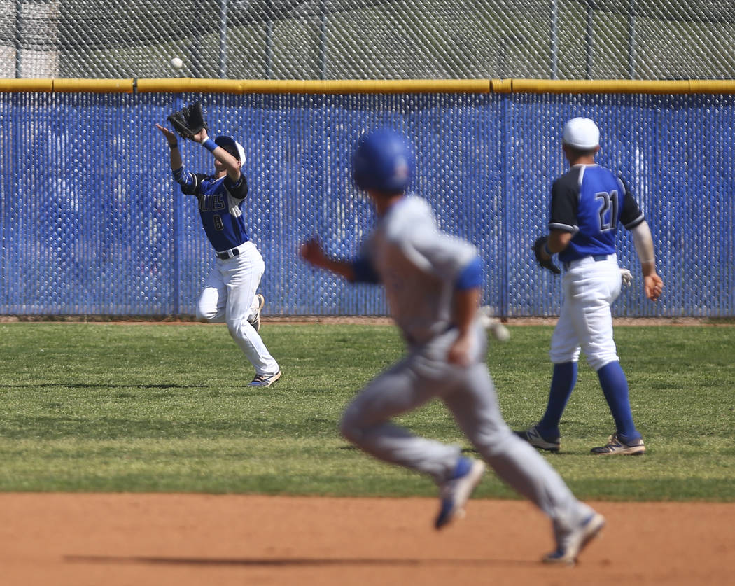 Basic's Kyle Turner (8) catches a fly ball from Santa Margarita during a baseball game at Basic High School in Henderson on Saturday, March 18, 2017. Basic won 4-3. (Chase Stevens/Las Vegas Review ...