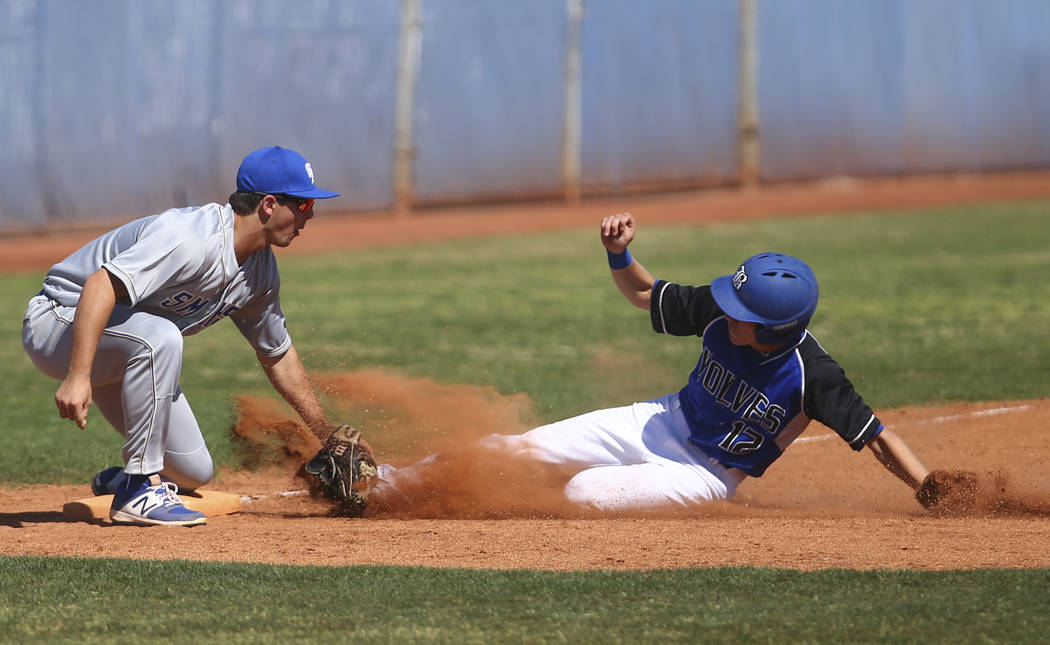 Santa Margarita's Joey Myers (2) tags out Basic's Brady Clark (12) during a baseball game at Basic High School in Henderson on Saturday, March 18, 2017. Basic won 4-3. (Chase Stevens/Las Vegas Rev ...