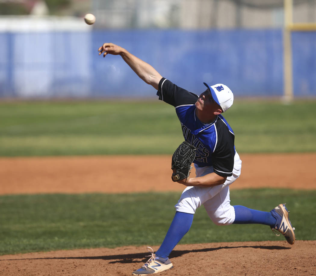 Basic's Paul Myro (21) pitches to Santa Margarita during a baseball game at Basic High School in Henderson on Saturday, March 18, 2017. Basic won 4-3. (Chase Stevens/Las Vegas Review-Journal) @css ...