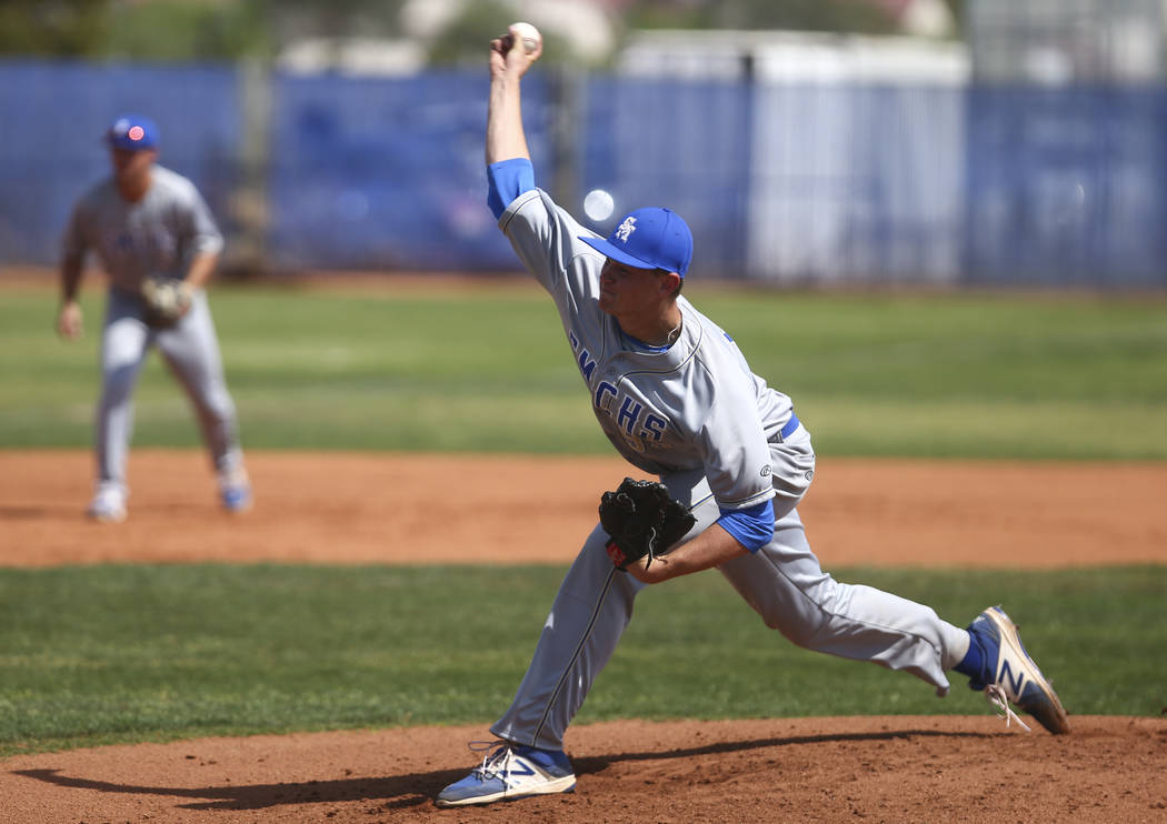 Santa Margarita's Chandler Champlain (55) pitches to Basic during a baseball game at Basic High School in Henderson on Saturday, March 18, 2017. Basic won 4-3. (Chase Stevens/Las Vegas Review-Jour ...