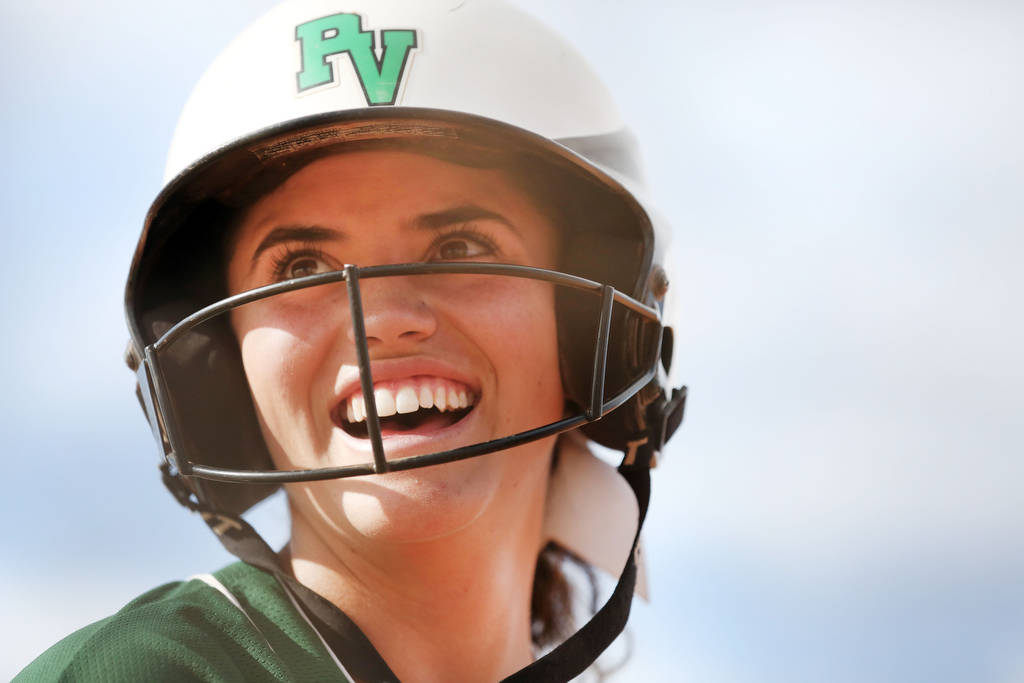 Palo Verde's Cara Beatty (5) smiles after her teammates make a run against Arbor View at Arbor View High School in Las Vegas, Monday, March 20, 2017. (Elizabeth Brumley /Las Vegas Review-Journal)