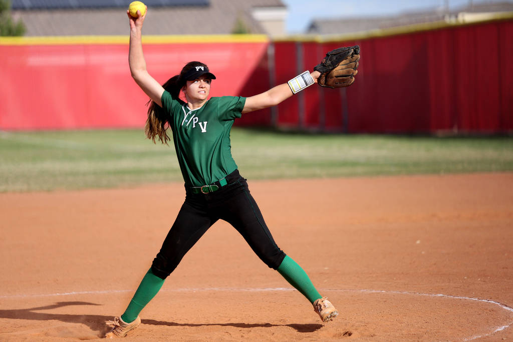 Palo Verde's Taylor Askland (3) pitches during a game against Arbor View at Arbor View High School in Las Vegas, Monday, March 20, 2017. (Elizabeth Brumley /Las Vegas Review-Journal)