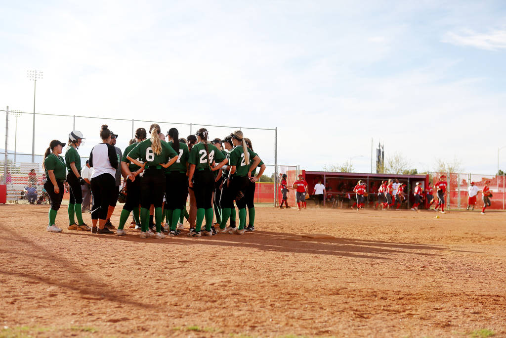 The Palo Verde softball team meets during a game against Arbor View at Arbor View High School in Las Vegas, Monday, March 20, 2017. (Elizabeth Brumley /Las Vegas Review-Journal)