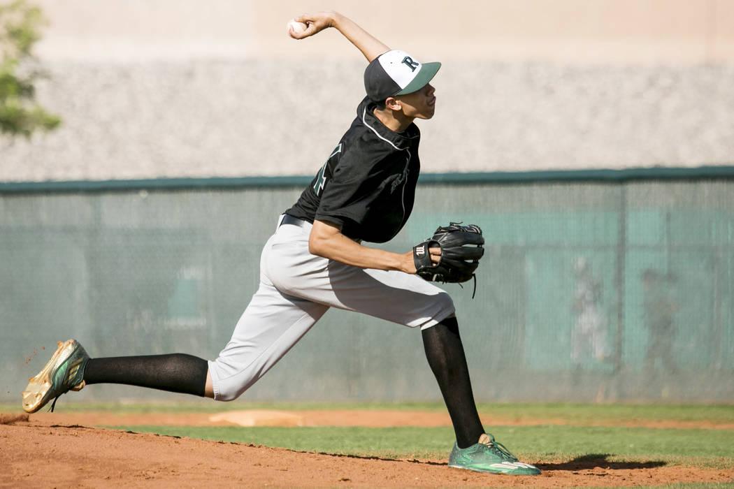 Rancho senior Michael Shy (24) pitches to Silverado at Silverado High School on Tuesday, March 21, 2017, in Las Vegas. (Bridget Bennett/Las Vegas Review-Journal) @bridgetkb