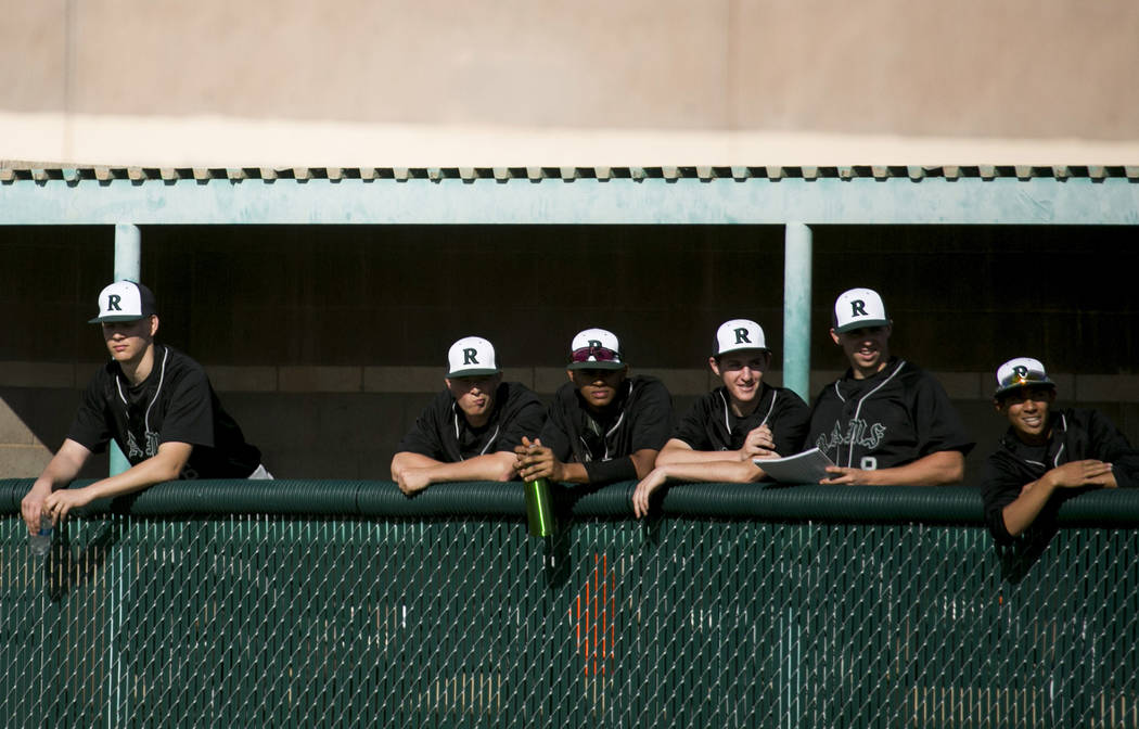 Rancho baseball players watch their teammates during a game against Silverado at Silverado High School on Tuesday, March 21, 2017, in Las Vegas. (Bridget Bennett/Las Vegas Review-Journal) @bridgetkb