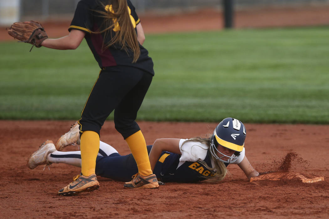 Boulder City's Ashley Wishard (8) makes it safely back to second base during a softball game at Boulder City High School in Boulder City on Wednesday, March 22, 2017. (Chase Stevens/Las Vegas Revi ...