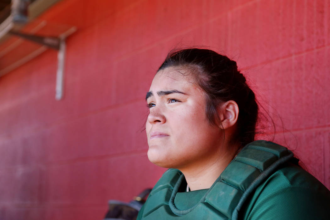 Palo Verde's Grace Chavez (25) watches her team play against Arbor View at Arbor View High School in Las Vegas, Monday, March 20, 2017. (Elizabeth Brumley /Las Vegas Review-Journal)
