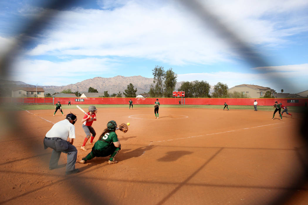 Catcher for Palo Verde Grace Chavez (25)  catches the ball during a game against Arbor View at Arbor View High School in Las Vegas, Monday, March 20, 2017. (Elizabeth Brumley /Las Vegas Review-Jou ...