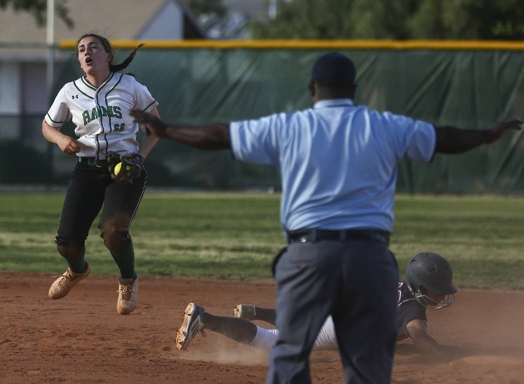 Rancho's Gianna Carosone (66) reacts to a call after Coronado's Taylor Okamura (10) made it safely back to second base during a softball game at Rancho High School in Las Vegas on Thursday, March  ...