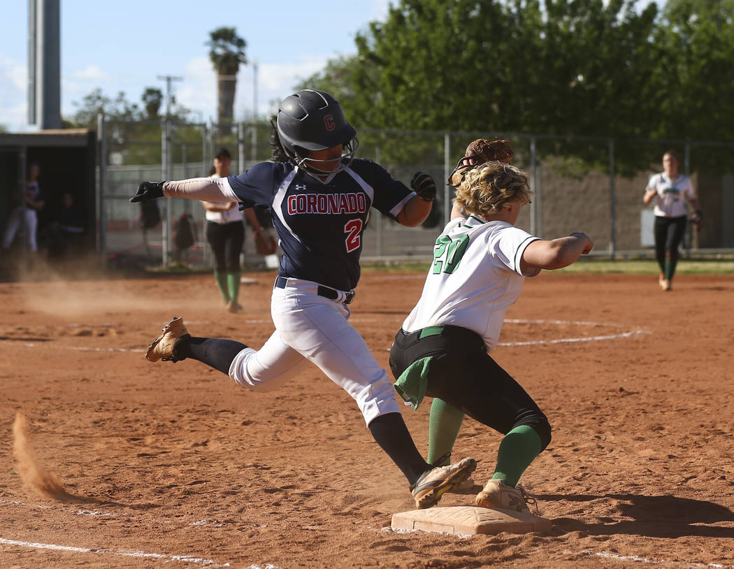 Rancho's MacKenzie Perry (20) catches the throw to get out Coronado's Alexis Okamura (2) at first base during a softball game at Rancho High School in Las Vegas on Thursday, March 23, 2017. Corona ...