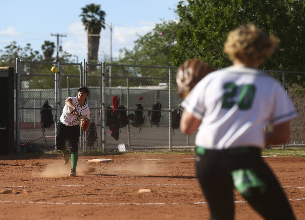 Rancho's Katerina Anthony (27) throws to Rancho's MacKenzie Perry (20) during a softball game against Coronado at Rancho High School in Las Vegas on Thursday, March 23, 2017. Coronado won 5-1. (Ch ...