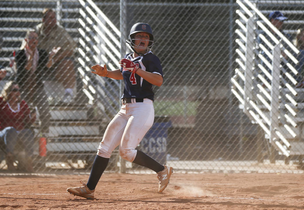 Coronado's Dylan Underwood (4) scores a run during a softball game at Rancho High School in Las Vegas on Thursday, March 23, 2017. Coronado won 5-1. (Chase Stevens/Las Vegas Review-Journal) @csste ...