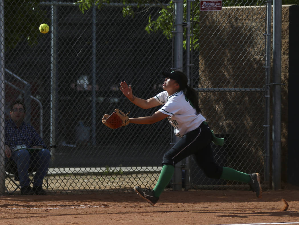 Rancho's Katerina Anthony (27) reaches out to catch a foul ball to get out Coronado's Taylor Okamura (10), not pictured, during a softball game at Rancho High School in Las Vegas on Thursday, Marc ...