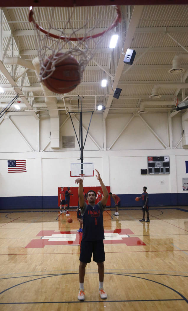 Findlay Prep's P.J. Washington shoots a free throw during practice at the Henderson International School on Friday, March 24, 2017, in Henderson. Washington is a Kentucky commit and a McDon ...