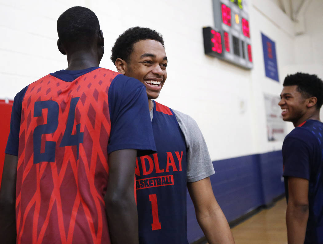 Findlay Prep's P.J. Washington (1) laughs during practices as he prepares for the Dick's National Tournament at the Henderson International School on Friday, March 24, 2017, in Hende ...