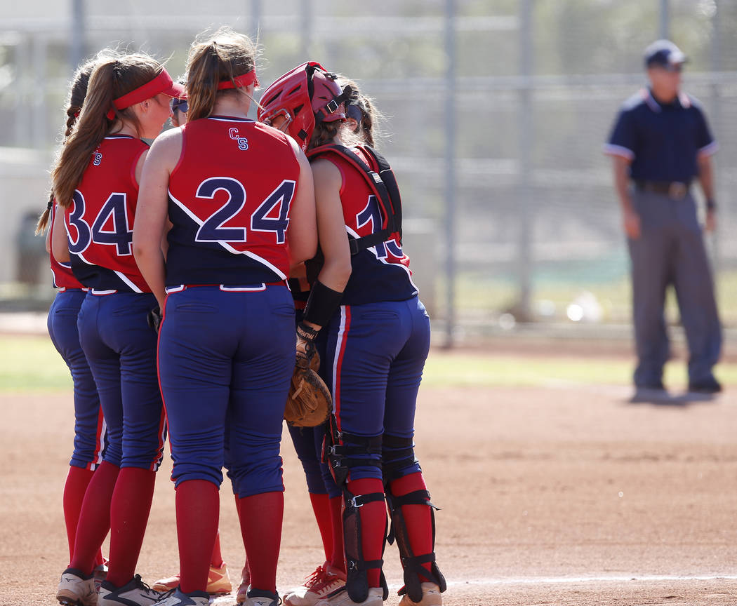 Liberty players huddle during a high school softball game against Coronado at Coronado High School on Saturday, April 1, 2017, in Henderson. (Christian K. Lee/Las Vegas Review-Journal) @chrisklee_jpeg