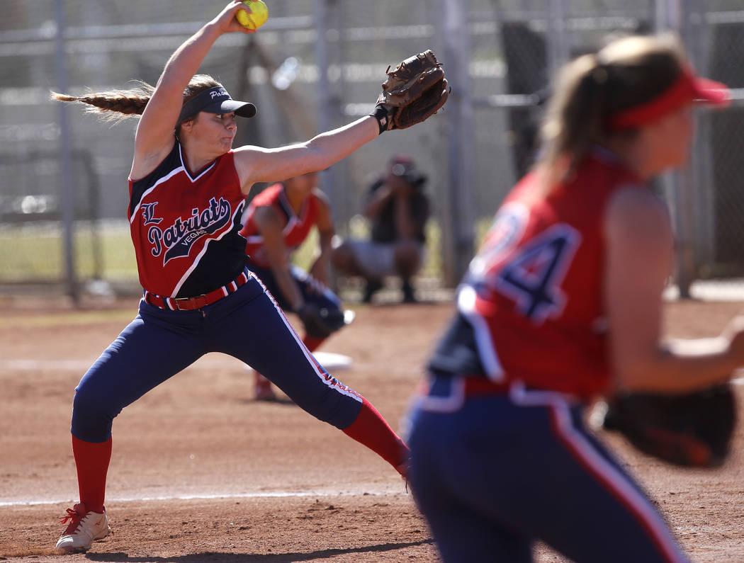 Liberty's Breanna Alvarez (5) pitches during the first inning of a high school softball game against Coronado at Coronado High School on Saturday, April 1, 2017, in Henderson. (Christian K. Lee/La ...