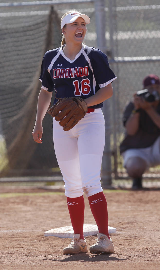 Coronado's Sophia McCann (16) reacts during the second inning of a high school softball game against Liberty at Coronado High School on Saturday, April 1, 2017, in Henderson. (Christian K. Lee/Las ...