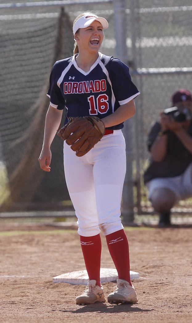 Coronado's Sophia McCann (16) reacts during the second inning of a high school softball game against Liberty at Coronado High School on Saturday, April 1, 2017, in Henderson. (Christian K. Lee/Las ...