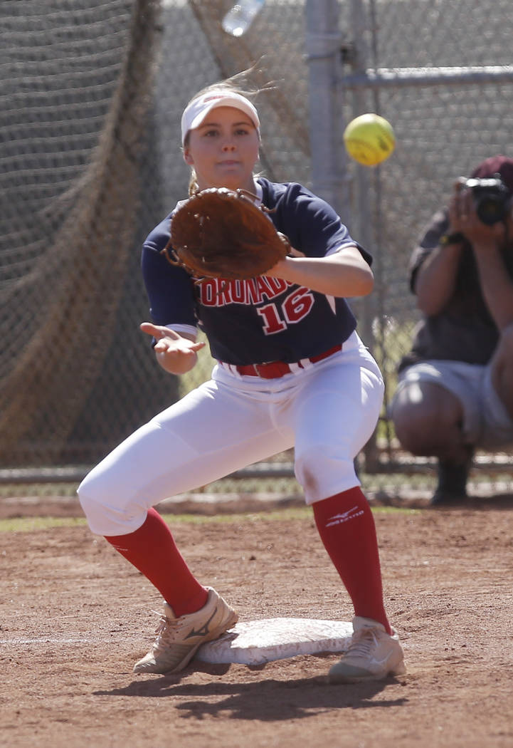 Coronado's Sophia McCann (16) catches the ball forcing a player out during the second inning of a high school softball game against Liberty at Coronado High School on Saturday, April 1, 2017, in H ...
