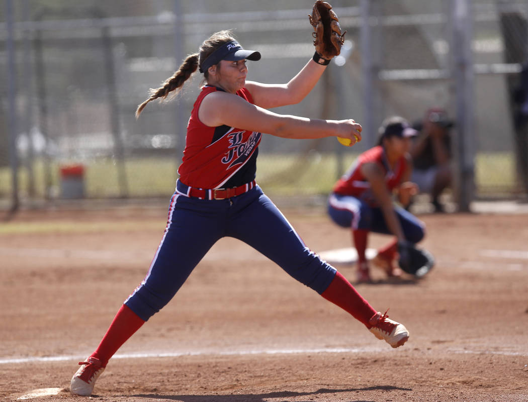 Liberty's Breanna Alvarez (5) pitches during the second inning of a high school softball game against Coronado at Coronado High School on Saturday, April 1, 2017, in Henderson. (Christian K. Lee/L ...
