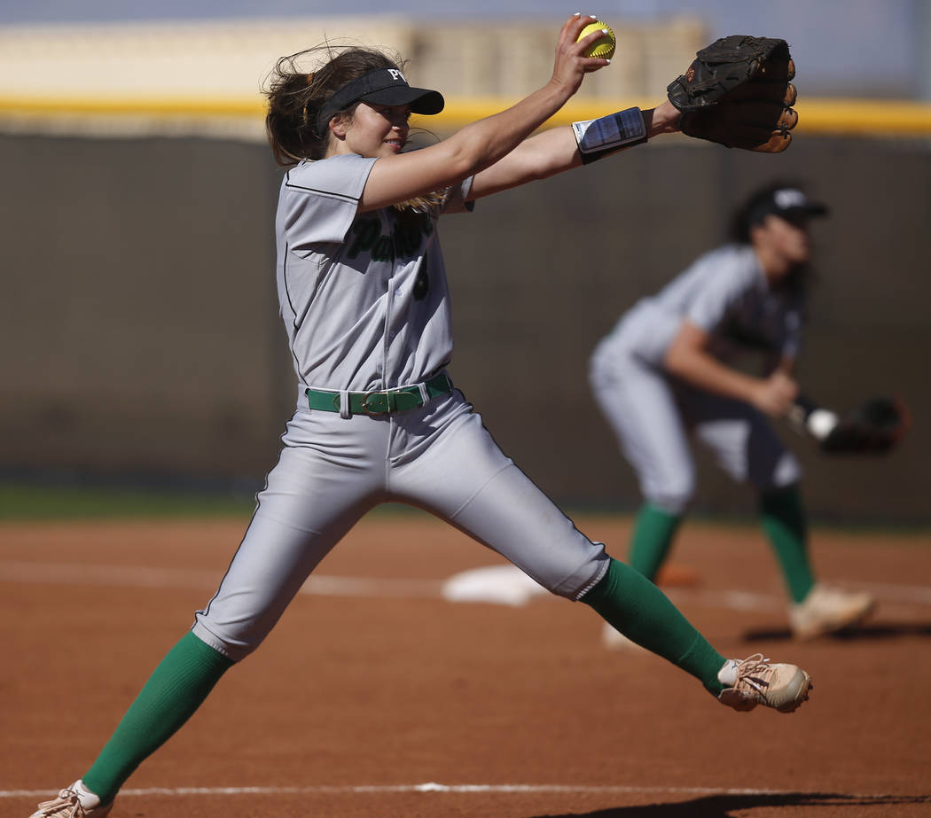 Palo Verde's Taylor Askland (3) pitches during the first inning of a high school softball game against Centennial at Palo Verde High School on Monday, April 3, 2017, in Las Vegas. Palo Verde won 6 ...